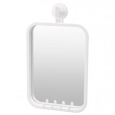 СТУГВИК зеркало с крючками, на присоске, белый
