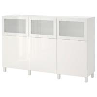 БЕСТО Комбинация для хранения с дверцами, белый Сельсвикен, Глассвик глянцевый/белый матовое стекло