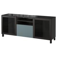 БЕСТО Тумба под ТВ, черно-коричневый, Вальвикен серо-бирюзовый, прозрачное стекло
