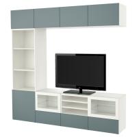 БЕСТО Шкаф для ТВ, комбин/стеклян дверцы, белый, Вальвикен серо-бирюзовый, прозрачное стекло