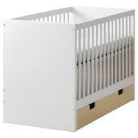 СТУВА Кроватка детская с ящиками, береза