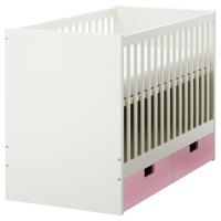СТУВА Кроватка детская с ящиками, розовый