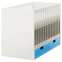 СТУВА Кроватка детская с ящиками, синий