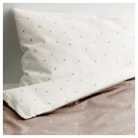 ОЛЬСКАД Комплект постельного белья, 3 предм, белый, бежевый