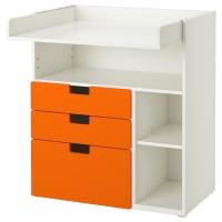 СТУВА Пеленальный столик с 3 ящиками, белый, оранжевый