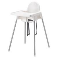 АНТИЛОП Высокий стульчик со столешн, серебристый