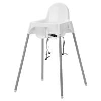 АНТИЛОП Высок стульчик с ремн безопасн, белый, серебристый