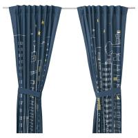 ХЕММАХОС Гардины с прихватом, 1 пара, темно-синий