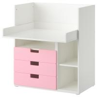 СТУВА Стол с 3 ящиками, белый, розовый