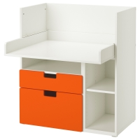 СТУВА Столик д/игр с 2 ящиками, белый, оранжевый