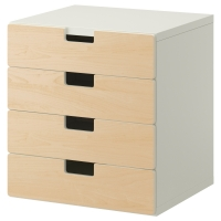 СТУВА Комбинация для хранения с ящиками, белый, береза