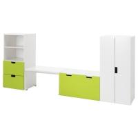 СТУВА Комбинация д/хранен со скамьей, белый, зеленый