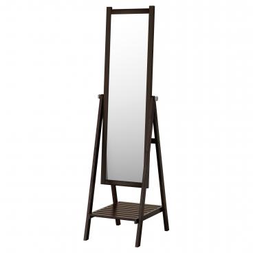 ИСФЬЁРДЕН Зеркало напольное, белая морилка