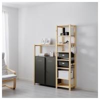 ИВАР 2 секции/полки/шкаф, сосна, серый