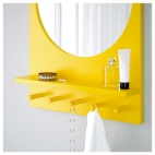 САЛТРЁД Зеркало с полкой и крючками, желтый