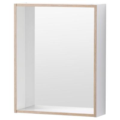 ТИНГЕН Зеркало с полкой, белый, пленка под ясень