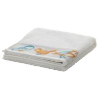 ТИЗАРЕН Банное полотенце, белый, птицы разноцветный