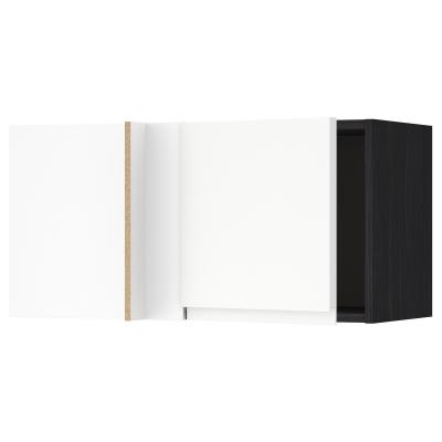 Метод угловой навесной шкаф с полками - под дерево черный, с.