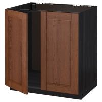 МЕТОД Напольн шкаф д раковины+2 двери, черный, Филипстад коричневый