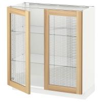 МЕТОД Напольный шкаф с 2 стекл дверцами, белый, Торхэмн ясень