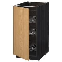 МЕТОД Напольный шкаф с проволочн ящиками, черный, Экестад дуб