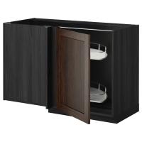 МЕТОД Угловой напол шкаф с выдвижн секц, черный, Эдсерум коричневый