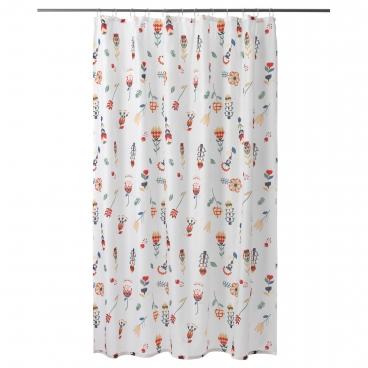 РОЗЕНФИББЛА Штора для ванной, белый, цветочный орнамент