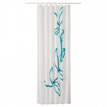 ДРАМСЕЛЬВА Штора для ванной, бирюзовый, цветок