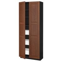 МЕТОД/МАКСИМЕРА Высокий шкаф с ящиками/2 дверцы, черный, Филипстад коричневый