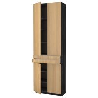 МЕТОД/МАКСИМЕРА Высокий шкаф+полки/2 ящика/4 дверцы, черный, Экестад дуб