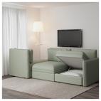 ВАЛЛЕНТУНА 3-местный диван, Оррста оранжевый, Фуннарп черный/бежевый