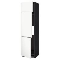 МЕТОД Выс шкаф для хол/мороз с 3 дверями, черный, Воксторп белый