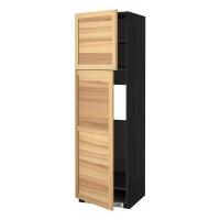 МЕТОД Высокий шкаф д/холодильника/2дверцы, черный, Торхэмн ясень