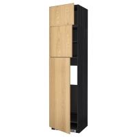 МЕТОД Высокий шкаф д/холодильника/3дверцы, черный, Экестад дуб