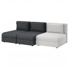 ВАЛЛЕНТУНА 3-местный диван, Хилларед темно-серый, Оррста светло-серый