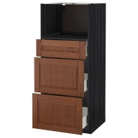 МЕТОД/ФОРВАРА Высокий шкаф д/СВЧ с 3 ящиками, черный, Филипстад коричневый