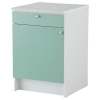 АЛЬБРУ Напольный шкаф с дверью и ящиком, светло-зеленый