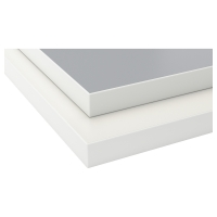 ЭКБАККЕН Столешница, двусторонняя, светло-серый, белый с белой окантовкой