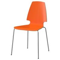 ВИЛЬМАР Стул, оранжевый, хромированный