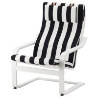ПОЭНГ кресло, белый каркас, Стенли черный / белый