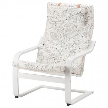 ПОЭНГ кресло с белым каркасом