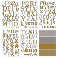 КЛЭТТА Декоративные наклейки, металлические буквы, золотистый/серебристый