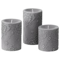 КОРНИГ Формовая свеча, ароматическая, 3 шт, дерево, серый