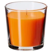 СИНЛИГ Ароматическая свеча в стакане, Солнечный мандарин оранжевый, оранжевый