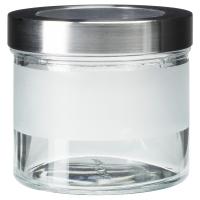 ДРОППАР Банка с крышкой, матовое стекло, нержавеющ сталь