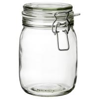 КОРКЕН Банка с крышкой, прозрачное стекло