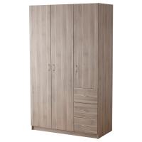 ТОДАЛЕН Гардероб с 3 дверцами+3 ящика, серо-коричневый
