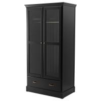 УНДРЕДАЛЬ Шкаф платяной, черный, серое стекло
