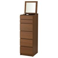 МАЛЬМ Комод с 6 ящиками, коричневая морилка ясеневый шпон, зеркальное стекло