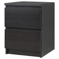 МАЛЬМ Комод с 2 ящиками, черно-коричневый